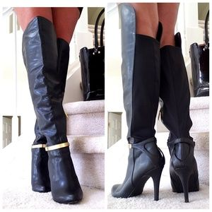 Shoes - Over the Knee Black Vegan Leather Gold Bar Boots